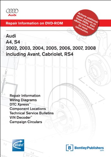 Audi A4, S4 2002, 2003, 2004, 2005, 2006, 2007, 2008: Repair Manual on DVD-ROM: Includes Avant, Cabriolet, Rs4