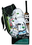 Pr club kit bag designed for little master , Club cricket kit contains top Grade kasmir willow bat, light weight Batting gloves , Ergonomically design batting pads,cricket helmet with all safety measures like faom grill,all type of guards and stylish...