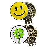 Ballmarker für Golfbälle, 2erSet, verschiedene Designs, bunt, schön, stabil, CLOVER and SMILEY FACE
