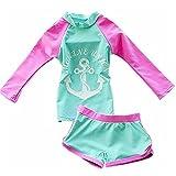 FAIRYRAIN Baby Kleinkinder Mädchen 2er Bade-Set Anker Print Lange Ärmel Bademode Schwimmanzug Rash Guard UV-Schutz 50+ (3-4 Jahre, Grün)