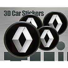 aus Legierung 57/mm gro/ß Renault-Logo Rad-Innenelement-Kappe Chrom-Optik schwarz 4er-Set Rad-Plakette