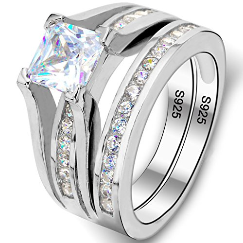 Ever Faith - Plata Esterlina 925 CZ Princesa-Corte Soltero Compromiso Anillo Set - 14,5 N07259-7