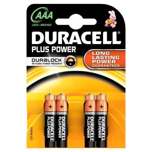 Duracell - Pile Alcaline - Duralock AAA x 4 Plus Power (LR03)