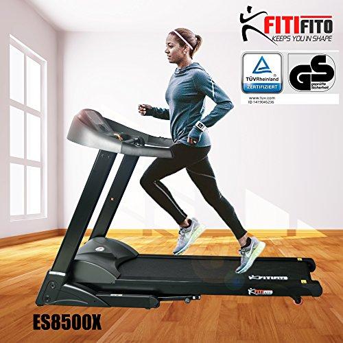 Fitifito ES8500X Profi Laufband 7PS 22km/h mit LCD Bildschirm, Dämpfungssystem, 5 Trainingsmodulen inkl. HRC - Klappbar, Schwarz