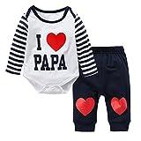 Baywell Neugeborene Baby Jungen Mädchen Kleider Set, Entzückende Spielanzug Set 2Pcs Outfit Süße Herz Print (L/90/18-24 Monate, Blau-I Love Papa)