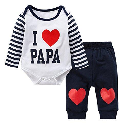 (Baywell Neugeborene Baby Jungen Mädchen Kleider Set, Entzückende Spielanzug Set 2Pcs Outfit Süße Herz Print (M/80/12-18 Monate, Blau-I Love Papa))