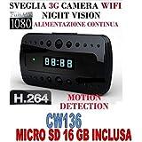 Despertador Reloj Espía + Micro SD 16GB espía Cam Full HD 1080p cámara WiFi Motion Detection cw136