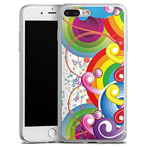 Apple iPhone X Slim Case Silikon Hülle Schutzhülle Psycho Kreise Bunt Silikon Slim Case transparent