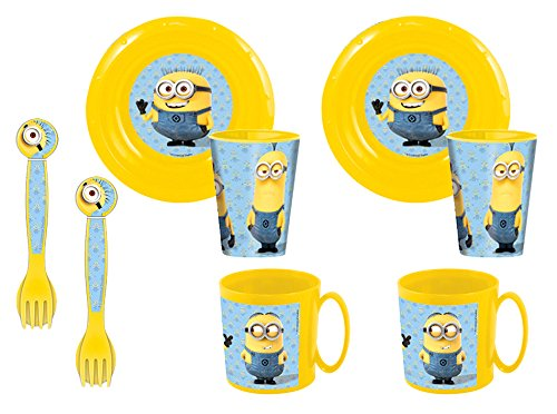 Minions Duplo – Set de 2 platos, 2 cuencos, 2 vasos y 2 tazas