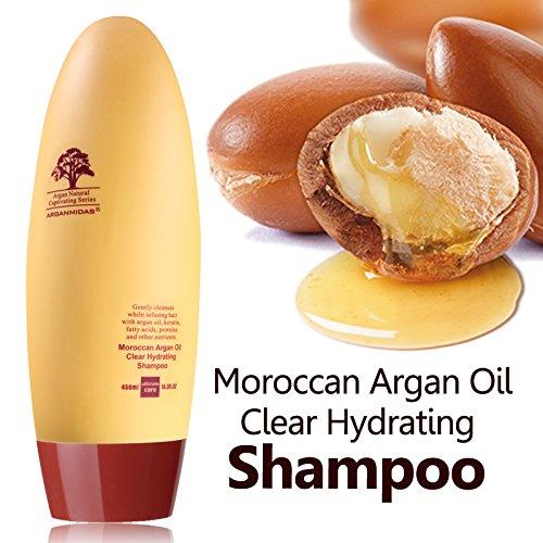Jojoba-behandlung Shampoo (Marokkanisches Arganöl-Shampoo, 450ml, mit Arganöl, Vitamin E und Keratin, Anti-Schuppen- und Anti-Juckreiz-Shampoo, frei von Sulfat, für Frauen, Männer und Kinder Spendet Feuchtigkeit, erweicht und kräftigt alle Haartypen, enthält 10 ml Conditioner und feuchtigkeitsspendende Haarcreme.)