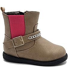 giardino d'oro Shoes scarpe bimba bambina neonata primi passi stivaletto autunnali invernali sportive alla caviglia casual comode con cerniera colore beige numero 24