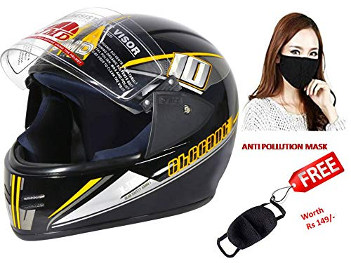 JMD ELEGANT Premium Decor D2 Full Face Helmet (L) Glossy BLACK-YELLOW