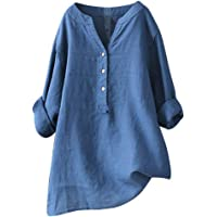 BUKINIE Womens Casual Loose Blouse Button V Neck Long Sleeve T Shirts Solid Color Pullover Tops Summer Spring Tunic for…