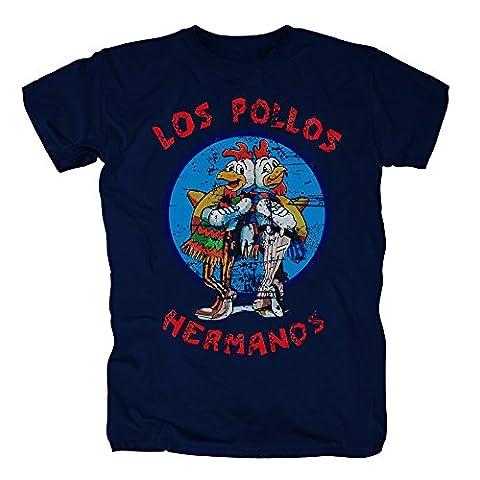 TSP Los Pollos Hermanos T-Shirt Herren M Dunkelblau (Fun Schule Halloween Kostüme)