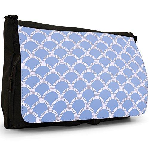 Japanisch inspirierte Blaue Wellen Große Messenger- / Laptop- / Schultasche Schultertasche aus schwarzem Canvas