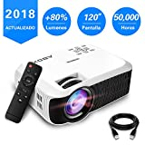ABOX T22 Mini Proyector, LED Proyector Portátil para Cine en Casa Soporte 1080P HDMI USB SD VGA AV android TV Smartphone PS4 Multimedia Home Theater Video Proyector