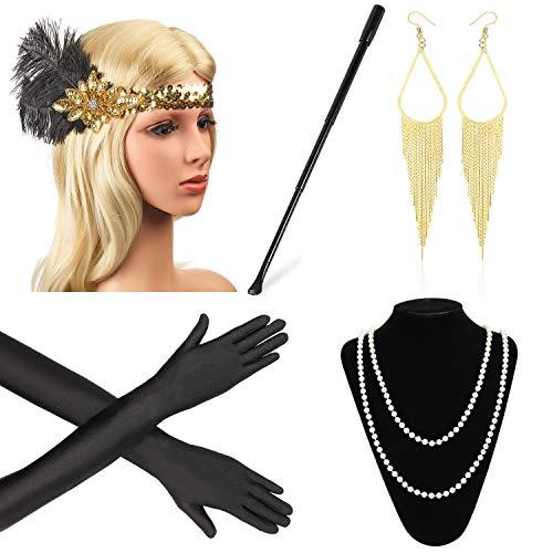 Beelittle 1920er Jahre Zubehör Set Flapper Stirnband, Halskette, Handschuhe, Zigarettenspitze Great Gatsby Zubehör für Frauen ()