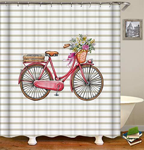 LTZDZ Decoración De Locomotoras. Bicicleta Roja Silla De Madera. Flores Rojas Y Blancas. Cinta Roja. Cortina De Ducha. Impermeable. A Prueba De Moho. Fácil De Limpiar. 180X180Cm.