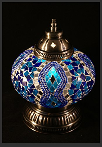 Mosaiklampe Mosaik - Tischlampe L Stehlampe Tischleuchte orientalische lampe Blau EXKLUSIV nur bei Samarkand-Lights
