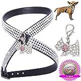 Woof Style S schwarz mit Anhänger Chihuahua Hunde Strass Geschirr Hundegeschirr Softgeschirr