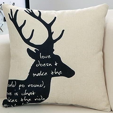 Yifom Bellissima serie di Pavone divano copre cuscino cuscino con core Ufficio cuscino (Deer Coperta Del Tiro)