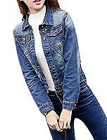 Fulok Womens Slim Fit Stretch Regular Washed Coat Denim Jean Jacket L Dark Blue