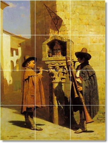 JEAN GEROME HISTORICA BAñO AZULEJO MURAL 19  12 75X 17PULGADAS CON (12) 4 25X 4 25AZULEJOS DE CERAMICA