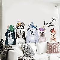 Pegatina de pared creativo perros sala de niños cabecera dormitorio decoración mascota tienda pared puerta de cristal-A 50x130cm(20x51inch)