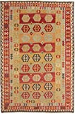 Carpetfine: Kelim Afghan Teppich 200x297 Braun,Rot - Geometrisch