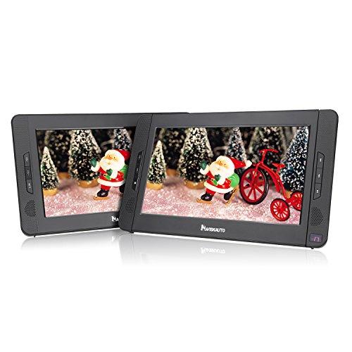 NAVISKAUTO 10,1 Zoll DVD Player Auto 2 Monitore Tragbarer DVD Player mit zusätzlichem Bildschirm 5 Stunden Akku Kopfstütze Monitor Fernseher Dual Bildschirm