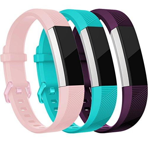 HUMENN Für Fitbit Alta HR Armband, Alta Armband Verstellbares Sport Ersatz Band Ersatzarmband Wristband Silikonarmband Fitness Zubehörteil mit Metallschließe Large Blushpink+Teal+Pflaume
