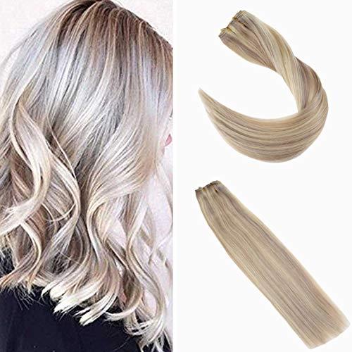 """Ugeat 24"""" #18/613 Asche Blondine mit Bleichmittel Blondine Highlight Clip in Haarverlangerungen Blond 3/4 Voller Kopf Brasilianisch Naturliches Clip on mit 5 Clips"""