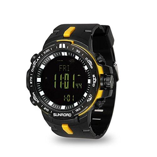Lixada SUNROAD Reloj Digital Deporte Hombres 5ATM Agua Resistente Altímetro Brújula Pesca Barómetro Reloj