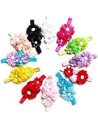 1989Candy 1 Pcs 12 ColorsBaby Girls Flower Hairband Chiffon Children Headband Hairdress(1 pcs)