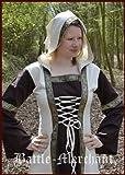 De la Edad media para vestido de Eleanor con capucha, colour marrón/Beige - de la Edad media para vestido de mujer, juegos de rol vestido, vestido de wikinger, tamaño pequeño