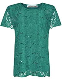 Click Selfie ® New Ladies Sequin Lace Lined Cap Sleeve Plus Size Floral Lace Tunic Tops 12-26
