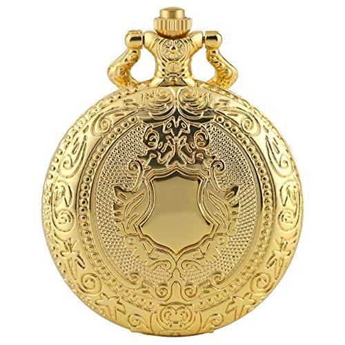HELBOD Taschenuhr Royal Gold Shield Crown Muster Quarz Taschenuhr Top Halskette Anhänger Kette Steampunk Clock Collectibles Schmuck Geschenke, 30cm Kette