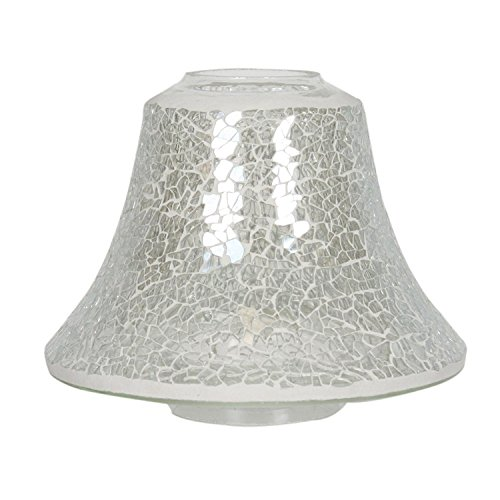 Clear Lustre Crackle Mosaic Village Candle Jar Lamp Shade 16cm - VC557