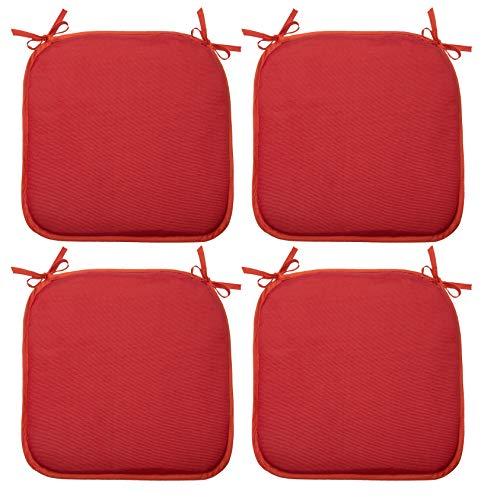 ZOLLNER 4er Set Stuhlkissen mit Bänder, 38x38 cm, rot (weitere verfügbar)