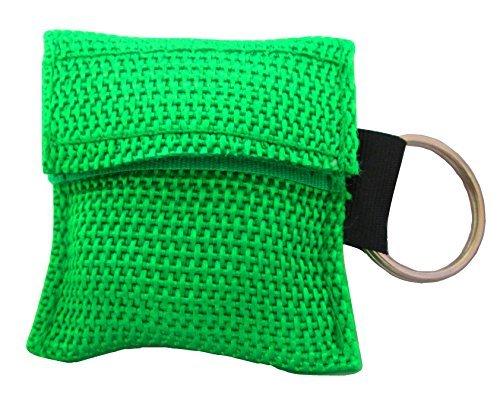 Schlichter CPR Gesichtsschutz / Leben Schlüssel Schlüsselanhänger Tasche (8 Colour Optionen) - Grün, ONE SIZE (Beutel-ventil-maske)