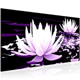 Bilder Blumen Lotusblume Wandbild Vlies - Leinwand Bild XXL Format Wandbilder Wohnzimmer Wohnung Deko Kunstdrucke Violett 1 Teilig - MADE IN GERMANY - Fertig zum Aufhängen 203312b