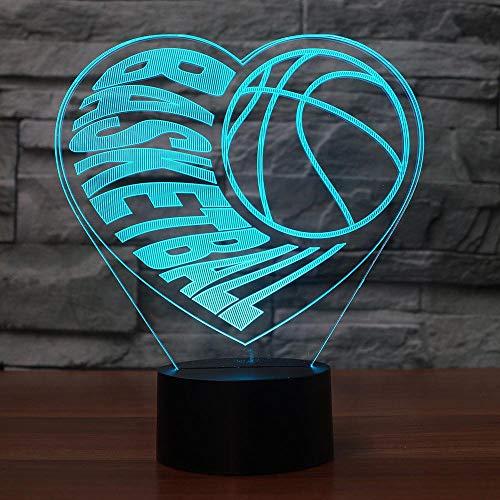 3D Visual Illusion Heart Basketball Led Lampe Transparent Acryl 3D Nachtlicht Led Lampa 7 Farbwechsel Touch Bulbing Lightin