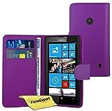 FoneExpert® Wallet Case Flip Cover Hüllen Etui Ledertasche Lederhülle Premium Schutzhülle für Nokia Lumia 520 + Displayschutzfolie (Lila)