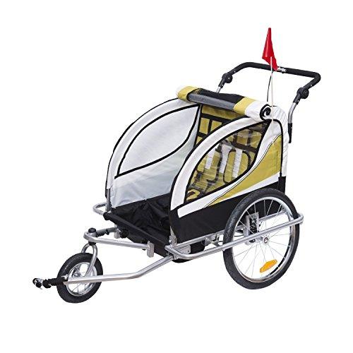 HOMCOM Remolque para Bicicleta Tipo Carro con Barra de Paseo para Niños de 2 Plazas con Rueda Delantera Giratoria 360° y Asiento Acolchado Carga Máx. 60kg (Amarillo)