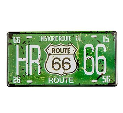 Eureya HR Route 66Grün Metall Nummernschild Plaque Wand Decor Art Malerei Vintage House Bar Pub Blechschilder 15x 30cm