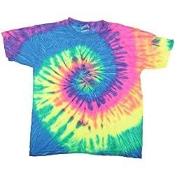 Tie-Dye - Camiseta psicodélica de manga corta Modelo Spiral Unisex Niños Niñas - Moda/Tendencia/ Hippie (Mediana (M)/Neon Swirl)