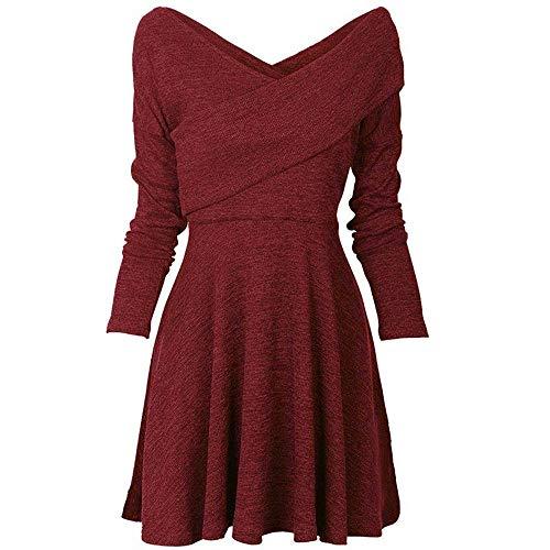 Damen Elegant Kleider Langarm V-Ausschnitt A-Line Kleid Slim Fit Abendkleid Casual Blusenkleid Tunika Minikleid Skaterkleid Festliche Kleider Partykleid Swing-Kleid(S-5XL)