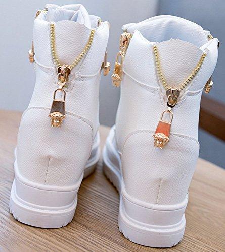 wealsex Basket Plateforme Montante Compensées Cuir Femme Chaussure Casual Lacet Fermeture Eclair Blanc
