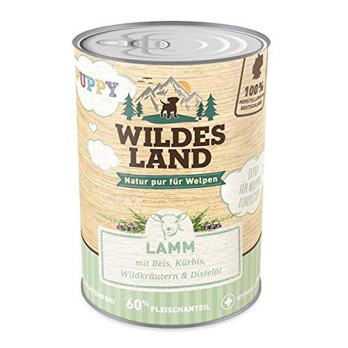 Wildes Land | Nassfutter für Hunde | Puppy Lamm | 6 x 400 g | mit Reis, Kürbis, Wildkräutern & Distelöl | Glutenfrei | Extra viel Fleisch | Beste Akzeptanz und Verträglichkeit | Rohstoffe aus der Lebensmittelproduktion (Puppy Reis Lamm)