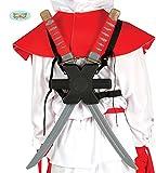 Guirca Samurai Schwerter Paar mit Halterung Rücken Karneval Fasching Party Ninja Kämpfer